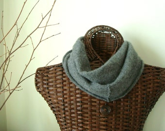 Gray Infinity Scarf / Cashmere Scarf / Luxury Gift Fashion Accessory / Cozy Upcycled Grey Felted Cashmere Scarf by WormeWoole