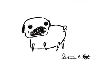 "Simple Black Ink Pug Original Drawing on 11"" X 8.5"" White Paper"