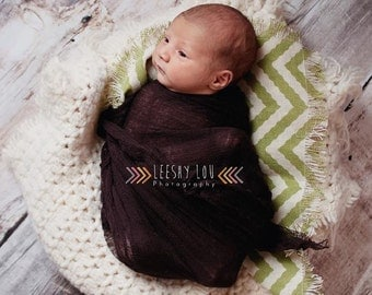 GREEN Newborn Baby Chevron Burlap Fabric Back Drop Basket Stuffer Blanket Photography Prop Many Colors