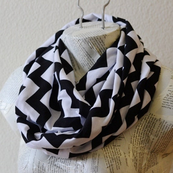 Black and White Chevron Infinity Scarf from Jersey Knit--New Style--READY TO SHIP