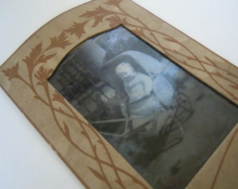 Tintype Antique Photography Baby in Buggy