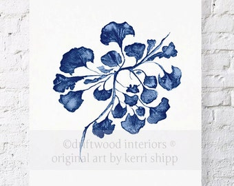 Sea Fan IV Art Print in Denim Blue 11x14 - Sea Life Art Print - Coral Art Print - Denim Blue Coral Print -Blue Seaweed Print
