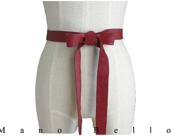 Red Bow Belt Leather Ribbon Wedding dress belt Bridesmaid Sash XS  Small, custom made