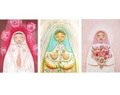 Reserved for Hillary Folk art painting Matryoshka illustration combination of three