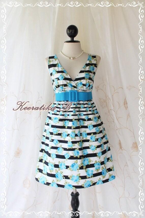 SALE - Miss Floral - Stripes Floral Print Summer Dress V Neck Blue Roses Dress Bridesmaid Wedding Party Tea Vintage Style Dress