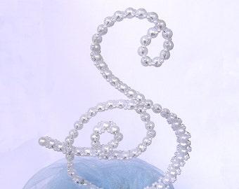 Monogram Initial Wedding Cake Topper - Pearl Cake Topper - Personalized Cake Topper - Pearl Letter Cake Topper - Letter S