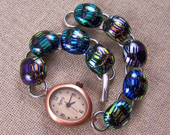 """Bracelet Watch of Dichroic Fused Glass - Copper Blue Bronze Green Cobalt Gold Rainbow Metallic Colors Striped 1/2"""" 12mm x 7.5"""""""