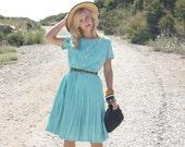 Vintage 60s Dress / 1960s Dress / Mint Green Dress w/ Pleated Skirt M