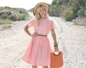 Vintage 60s Dress/ 1960s Cotton Dress/ Orange Gingham Print Dress w/ Buttons M