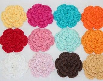 One Crochet Flower Hair Clip - Girls Hair Clip - Crochet Hair Accessory - Flower Clip - One 3-Layer Flower Applique