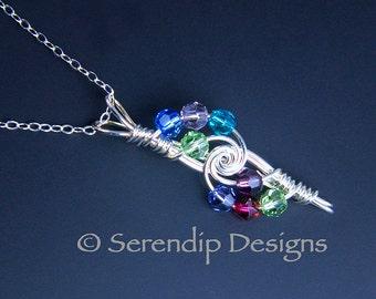 8 Birthstone Mothers Pendant, Argentium Sterling Silver Eight Birthstones Grandmothers Pendant, Crystal Custom Necklace