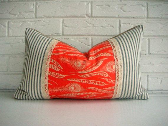 Orange Feather Print Boho Chic Throw Pillow Cover - Burlap Lace Pillow - Dorm Room Fall Decor