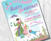 Mary Poppins Party Invitations, Printable Custom Invitations by Cutie Putti Paperie