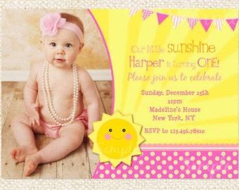 Sunshine Birthday Invitations // My little sunshine birthday invitations // DIY printable
