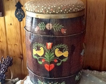Wood Barrel Antique Country Folk Art Hand Painted Unique Home Decor Furniture Chair