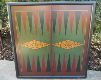 Backgammon, Primitive, Wood, Game Board, Wooden, Game Boards, Hand Painted, Folk Art, Board Game