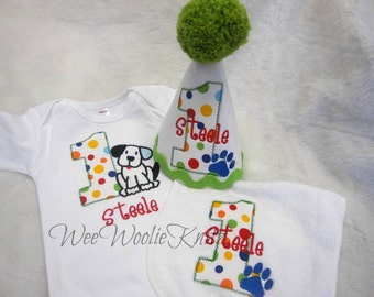 The Puppy Birthday Party Set Personalized T Shirt Party Hat And Bib Boys Girls Dog Photo Prop Smash Cake 1st 2nd 3rd