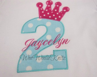 Personalized Princess Birthday T Shirt Or Bib  Applique Girls 1st 2nd 3rd Any Number or Letter