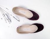 custom listing for Sopporra.....soft suede handmade ballet flats. dark bordeaux.