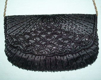Vintage 1970s Black La Regale Handbag, Hand Beaded, Shoulder Bag