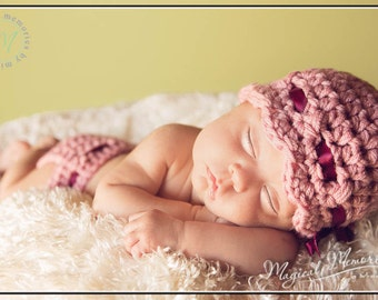 The Scarlett Flapper Beanie in Pink Rose with Matching Diaper Cover Available in Newborn to 12 Months- MADE TO ORDER