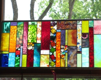 Wedding gift from the REGISTRY   Stained glass Transom CRAZY STYLE
