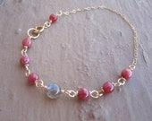 Flashy Labradorite and Rosey Calcite Goldfill Bracelet