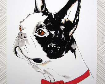 Boris The Boston Terrier - 8 x 11 inch Giclee Print - Boston Terrier in Red Bow Tie Illustration