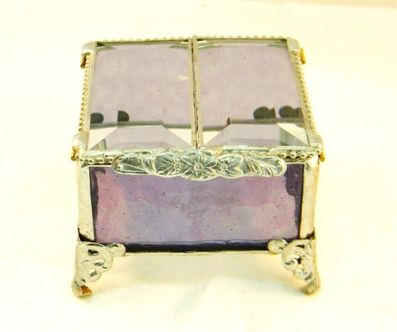 Lilac Purple Stained Glass Box Jewelry Box By