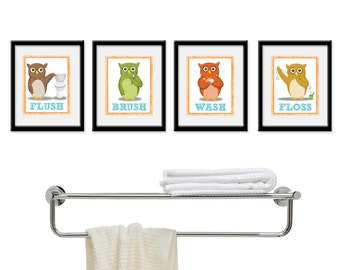 Kids Bathroom Art - Children's Wall Decor Owls for the Bathroom - Kids Bathroom Decor art - Four 5 x 7  Bathroom Owl Child Prints