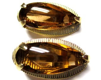 Vintage Whiting and Davis Golden Amber Clip Earrings