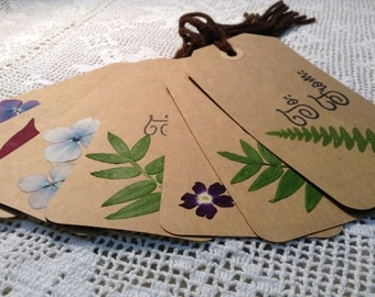 Free Shipping Set of 15 Pressed Flower Gift Tags