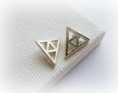 Legend of Zelda Triforce Earrings - Trianlge silver studs Earrings - Sterling silver unisex studs - men geometric studs - Zelda Earrings