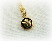 Tiny Gold Lotus Necklace - tiny lotus pendant -  Minimalist Gold Jewelry - Gold Lotus necklace - Gold Yoga Jewelry - om gold jewelry