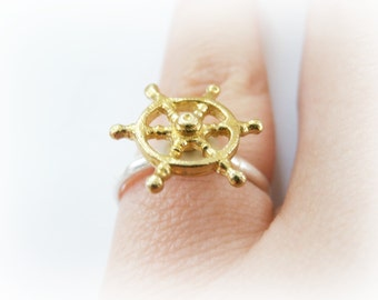 Ship wheel ring - Captains wheel ring - nautical ring - brass steering wheel sterling silver ring - nautical beach jewelry