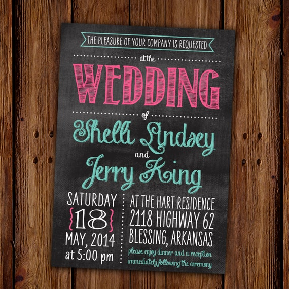 Chalkboard Wedding Invitation Engagement Party Couples
