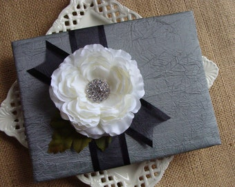 Wedding Guest Book - White Ranunculous on Silver / Pewter Crinkled Tafetta
