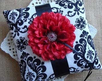 Wedding Ring Bearer Pillow - Red Zinnia on Black & White Damask
