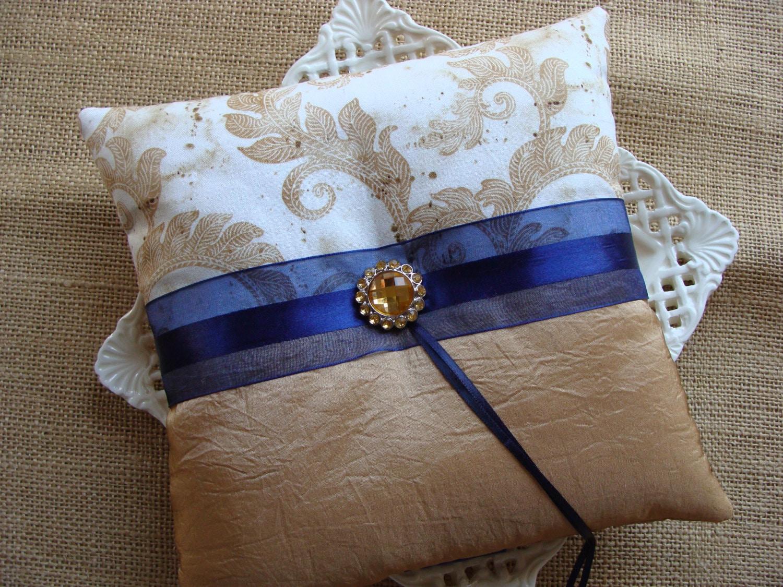 Traditional Wedding Ring Pillow : Wedding Ring Bearer Pillow Gold Vines on White