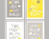 Bathroom Art Yellow Gray Decor Elephant Bathroom Decor You are my sunshine, sunshine wall art, kids wall art by YassisPlace (GSEB-002)