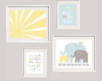 You Are My Sunshine Elephant Art Print Set in Yellow, Aruba blue and Gray Print Set for boy or girl  11X14 and 8X10 Custom Colors available
