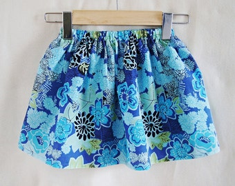 Girls Blue Flowers Skirt / Toddler Skirt / Summer Skirt / Childrens Clothing / Handmade / Ready To Ship