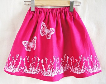 Organic Linen Girl's Skirt / Fuchsia Pink Hand Printed Skirt / Butterfly and Flowers / Childrens Clothing / Hand Printed / Made To Order