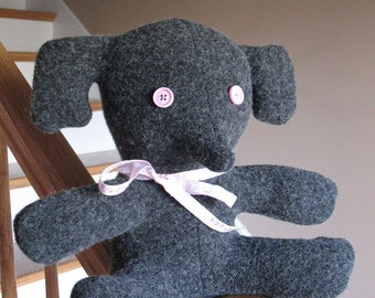 Repurposed Upcycled Felted Wool Sweaters Plush Elephant Softie Pillow