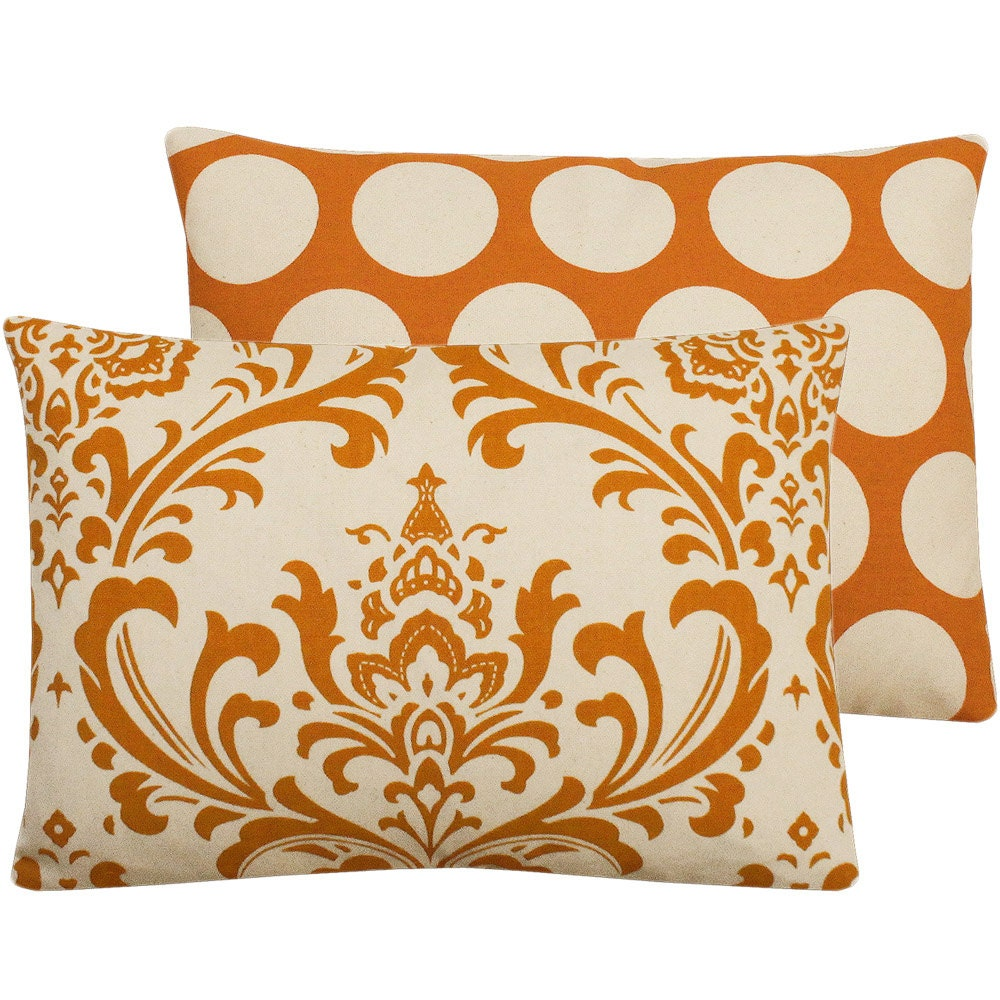 Orange Decorative Pillows Couch : Orange and Cream Decorative Throw Pillow Cover 12x16