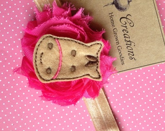 Pink Shabby Frayed Flower with Felt Horse Applique Headband