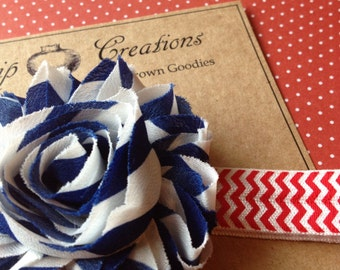 4th of July Shabby Flower Headband Blue White Stripes on Red Chevron Fourth of July