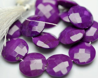 Large Purple Turquoise Faceted Coin Shape Nuggets 15mm -1/2 Strand