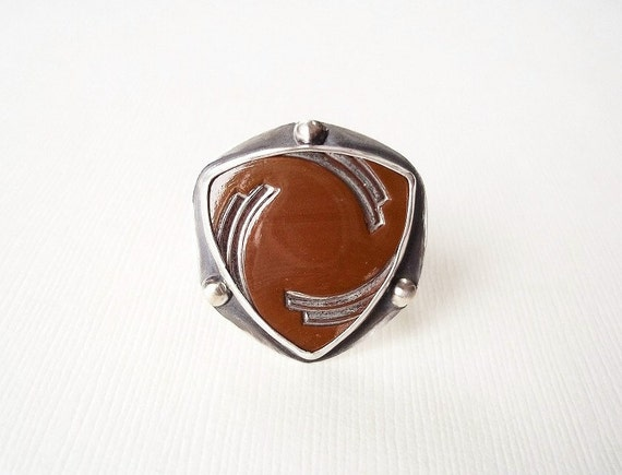 Art Deco Glass Button in Sterling Silver Ring. Modern Jewelry