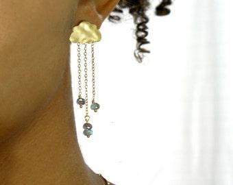 Rain cloud earrings.  English Rain. Gold cloud earrings.  stud post earrings. Chandelier cloud earrings in gold or silver